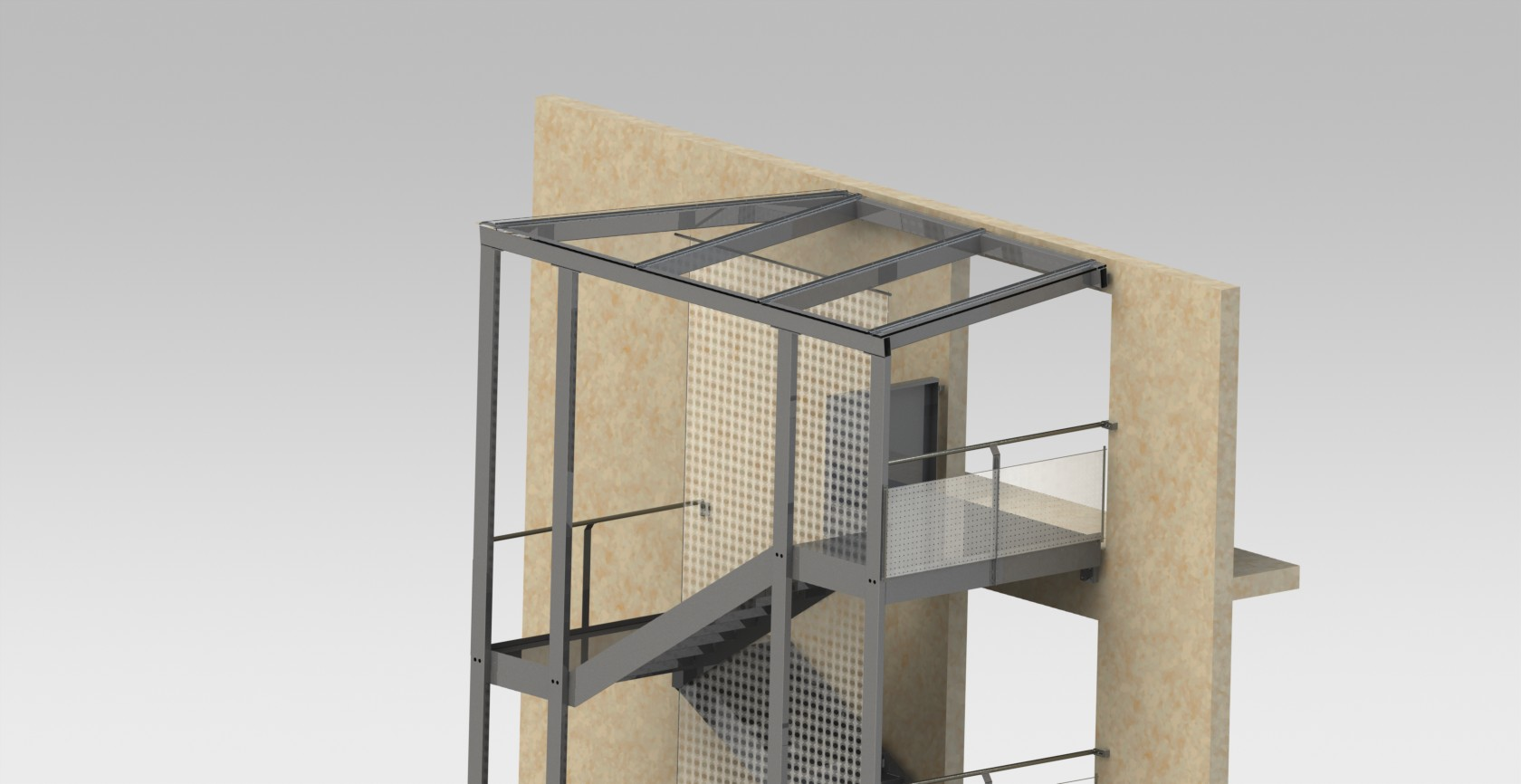 Cage d escalier ext rieure rdmetal bureau technique construction m tallique for Cage escalier